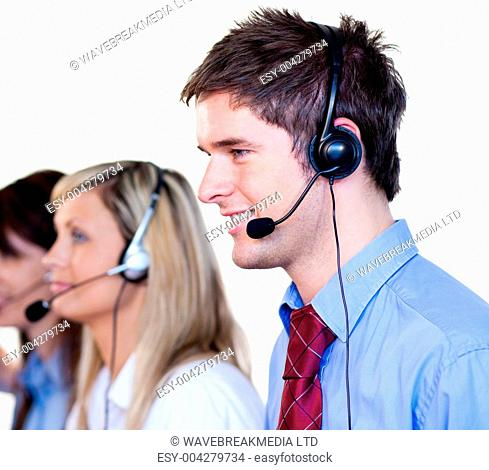 Businessman working with headset on