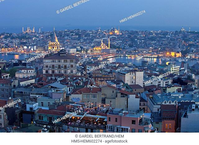 Turkey, Istanbul, Beyoglu, Tnel district, Galata Tower and Mosque Sultan Ahmet Camii Blue Mosque to the left