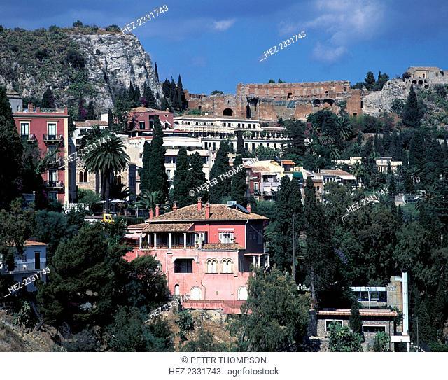 View from Via Roma to Greek theatre, Taormina, Sicily, Italy