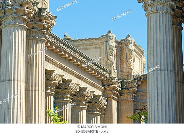 Detail of Palace of Fine Arts monument, San Francisco, California, USA