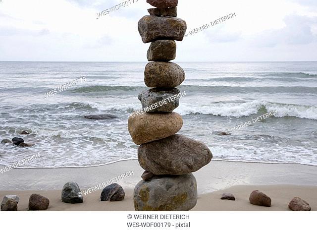 Germany, Mecklenburg-Vorpommern, Island Rügen, Pile of stones on beach