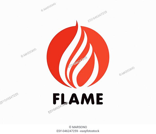 Fire flame Template vector icon Oil, gas and energy logo concept