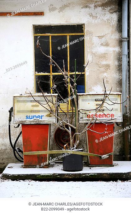 Old gas station, Campuac, Aveyron, Midi-Pyrénées, France