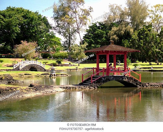 Big Island, Island of Hawaii, HI, Hawaii, Hilo, Lili'uokalani Gardens Park, Japanese-style garden