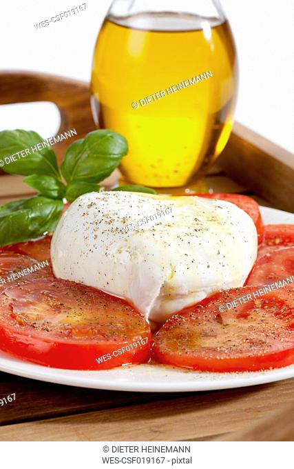 Buffalo mozzarella with basil, tomatoes and bottle of olive oil on plate, close up