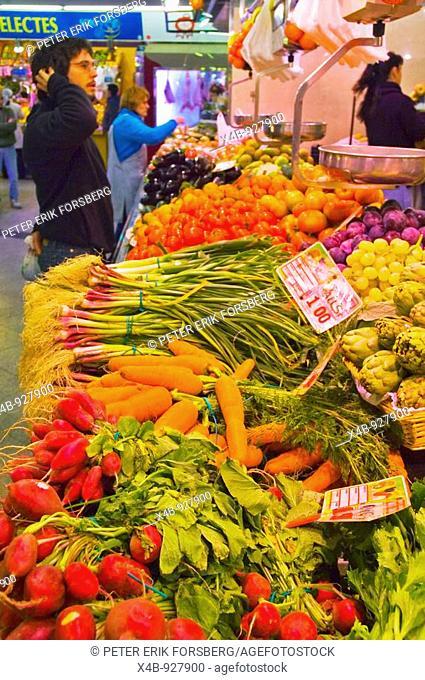 Vegetable stall at Santa Caterina market in Barcelona Catalonia Spain EU