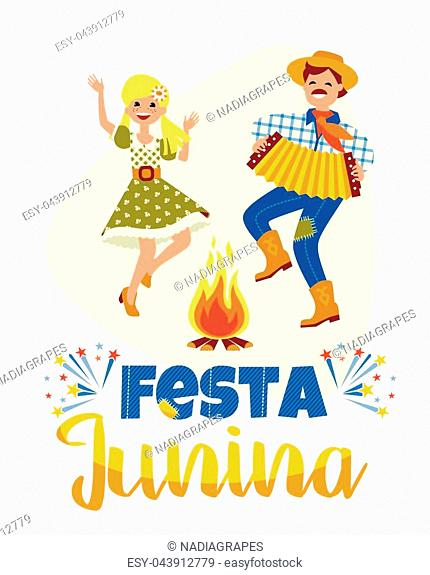 Latin American holiday, the June party of Brazil. Vector illustration with symbolism of the holiday