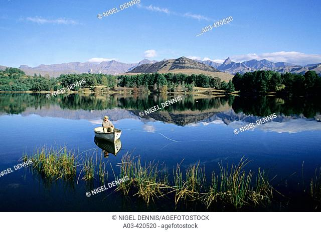 Fly Fishing for trout, Lake Naverone, Drakensberg, South Africa