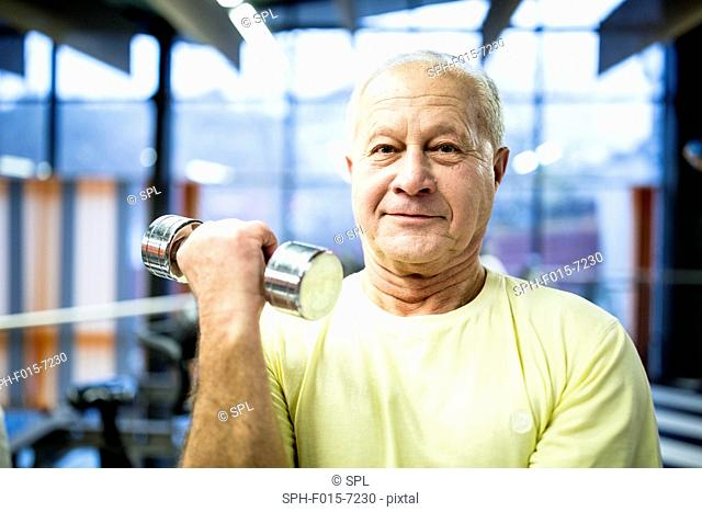 MODEL RELEASED. Portrait senior man holding dumbbell in gym