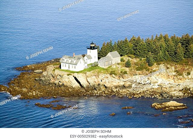 Aerial view of Indian Island Lighthouse in Rockport, Maine