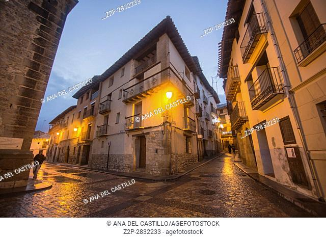 Dusk in Rubielos de Mora village, one of the most beautiful villages in Spain on Dec 17, 2016