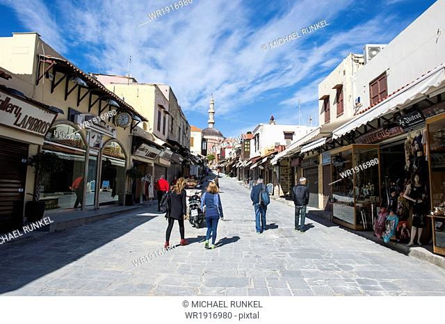 Street leading up to the Suleymaniye Mosque, the Medieval Old Town, UNESCO World Heritage Site, City of Rhodes, Rhodes, Dodecanese Islands, Greek Islands