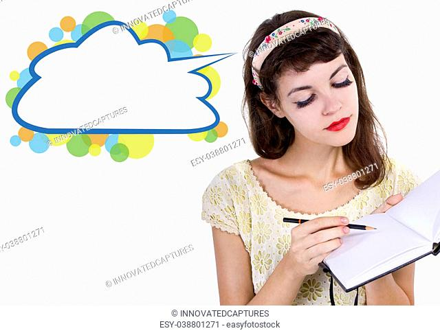 young caucasian female with sketchbook and pencil on white background