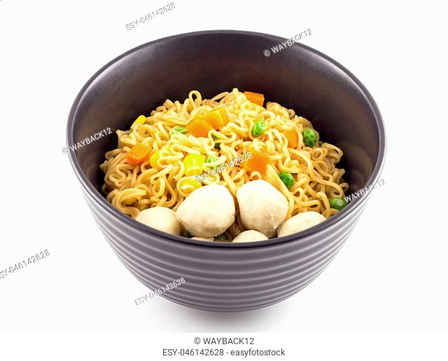 Bowl of noodle with vegetable and pork ball on white background