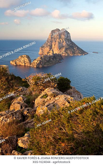 View of Es Vedrà and Es Vedranell islots from the watchtower of Torre des Savinar in the south of Ibiza, Sant Josep de Sa Talaia, Ibiza, Illes Balears, Spain