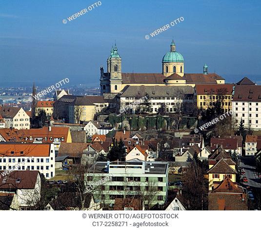 Germany, Weingarten (Wuerttemberg), Upper Swabia, Baden-Wuerttemberg, city panorama, Basilica Saint Martin and Oswald, baroque church