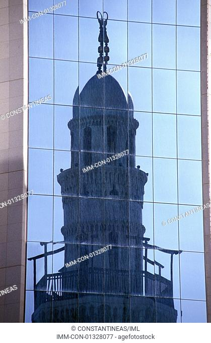 Reflection of Friday Mosque on commercial centre Manama, Bahrain, Middle East