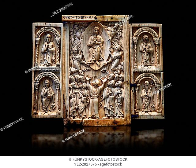 Medieval ivory Triptych relief panel depicting the Ascension, end of 11th cent. AD. Inv OA 6340, The Louvre Museum, Paris