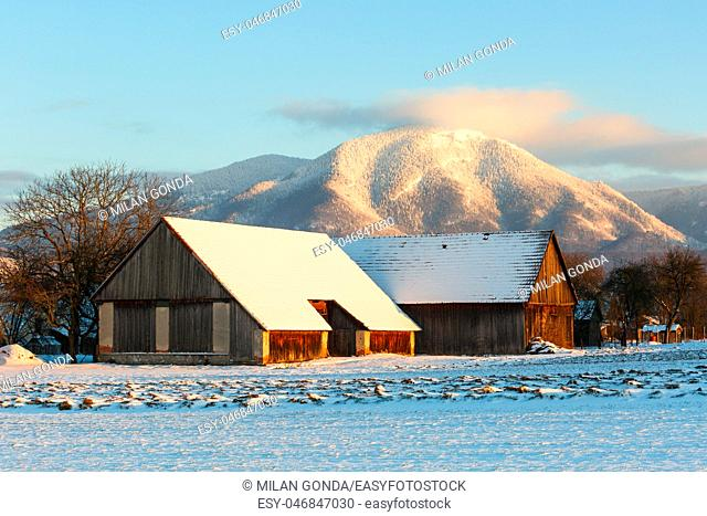 Traditional barns in Turiec region in central Slovakia.
