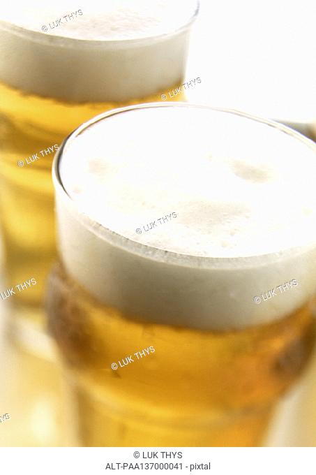 Glasses of beer, close-up