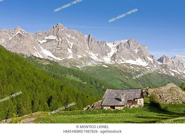 France, Hautes-Alpes, Nevache La Claree valley, overlooking the Pointe Cerces (3097m)