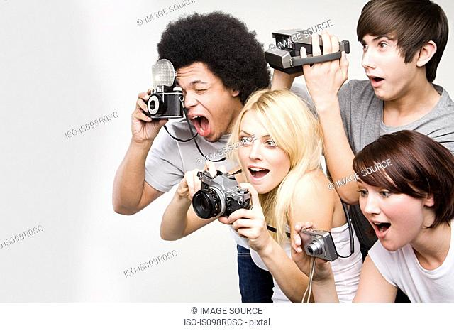 Friends taking pictures