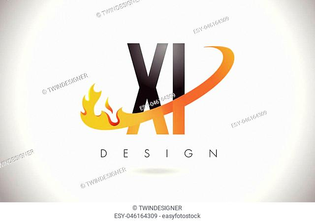 XI X I Letter Logo Design with Fire Flames and Orange Swoosh Vector Illustration