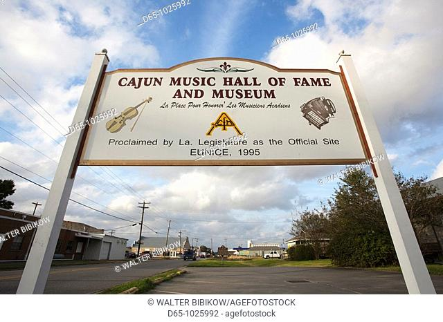 USA, Louisiana, Cajun Country, Eunice, Cajun Music Hall of Fame and Museum, sign