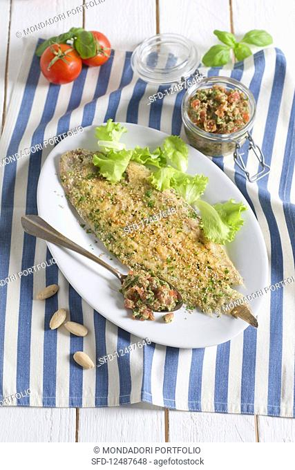 Breaded sole with Sicilian tomato and almond pesto