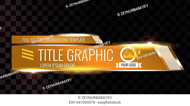 Video headline title or lower third template. Creative banner design for video. Orange color