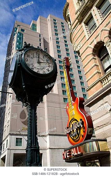Low angle view of buildings, Hard Rock Cafe, Market Street, Philadelphia, Pennsylvania, USA
