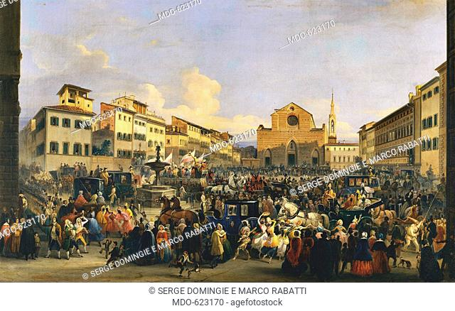 Piazza di St. Croce during carnival, by Signorini Giovanni, 19th Century, 1848, . Italy, Tuscany, Florence, Palazzo Pitti, Modern Art Gallery