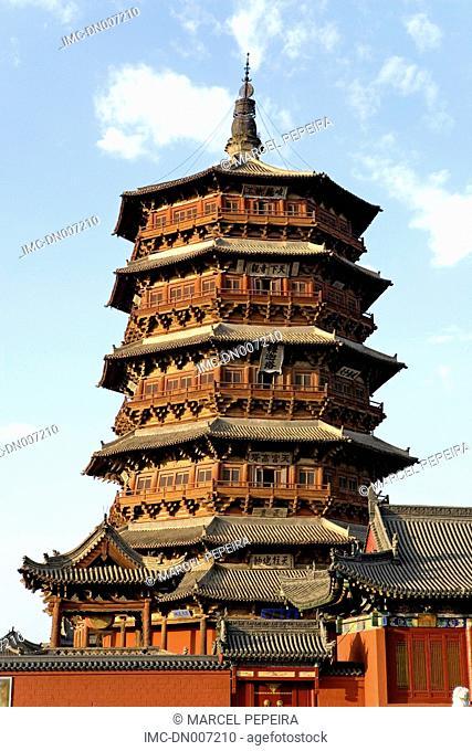 China, Shanxi province, Yingxian, wooden pagoda