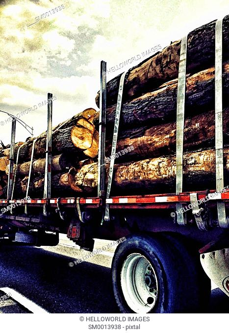Logs being transported on logging truck, Canada