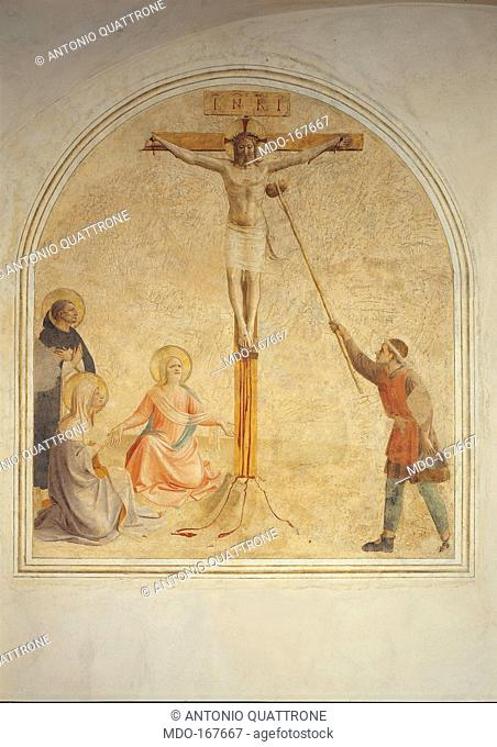 Crucifixion, by Guido di Pietro (Piero) known as Beato Angelico, 1540 - 1549 about, 15th Century, fresco, . Italy, Tuscany, Florence, San Marco Convent
