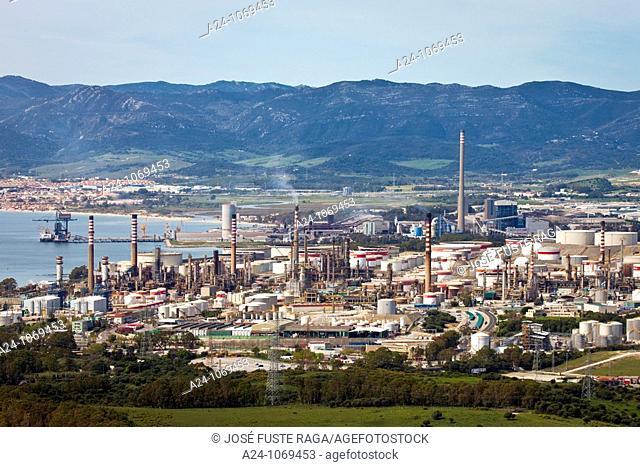 Oil refinery, Bay of Gibraltar, Algeciras, Cadiz province, Andalusia, Spain