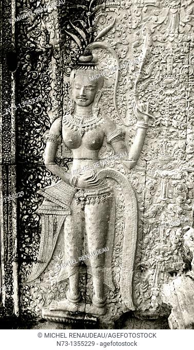 Cambodia, Siem Reap Province, Angkor site listed as World Heritage by UNESCO in 1992, Angkor Wat temple, bas-relief representing apsara dancer carving