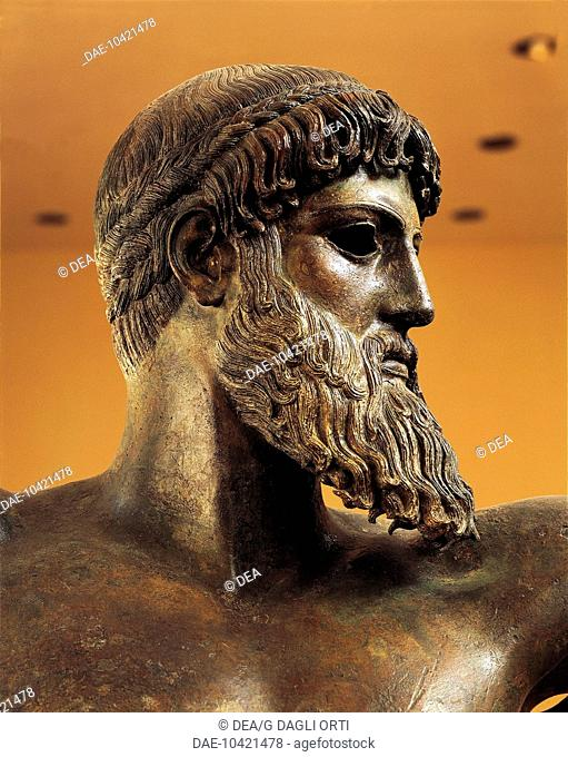 Greek civilization, 5th century b.C. Bronze statue of Poseidon from Cape Artemision, circa 460 b.C. Detail from the head  Athens