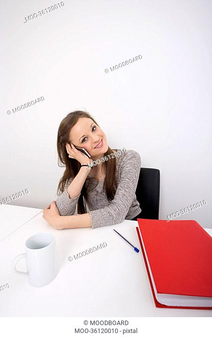 Portrait of beautiful businesswoman using cell phone at office desk