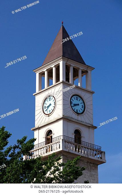 Albania, Tirana, Skanderbeg Square, clocktower