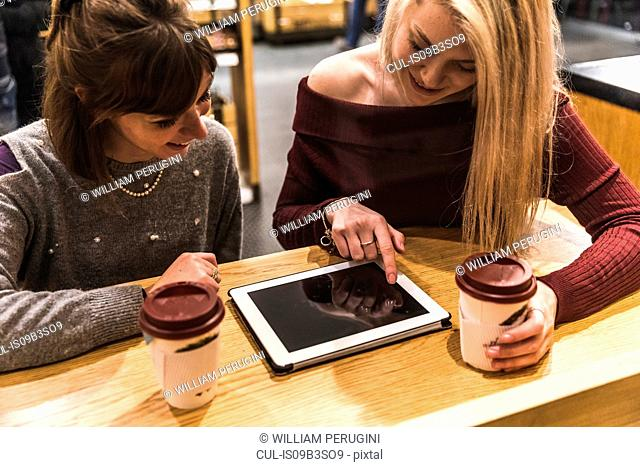 Two female friends sitting in coffee shop, looking at digital tablet