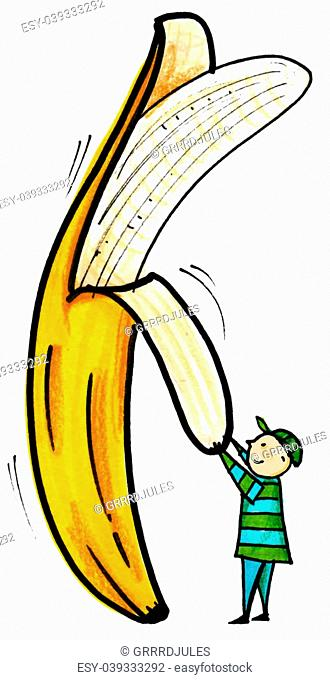 Whimsical illustration of child peeling a banana