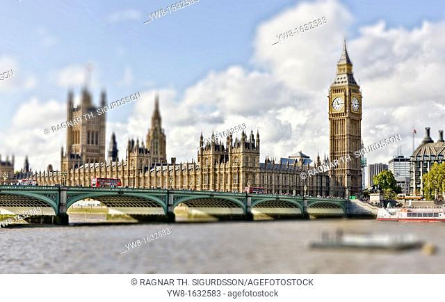 Houses of Parliament and Westminster Bridge Over the River Thames, Westminster, London, England