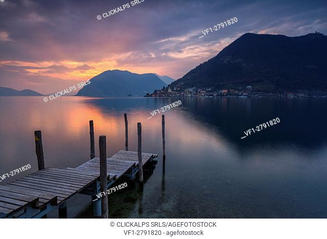 Sunset in Iseo lake, province of Brescia, Italy