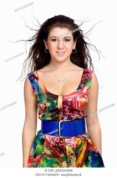 girl in colorful dress