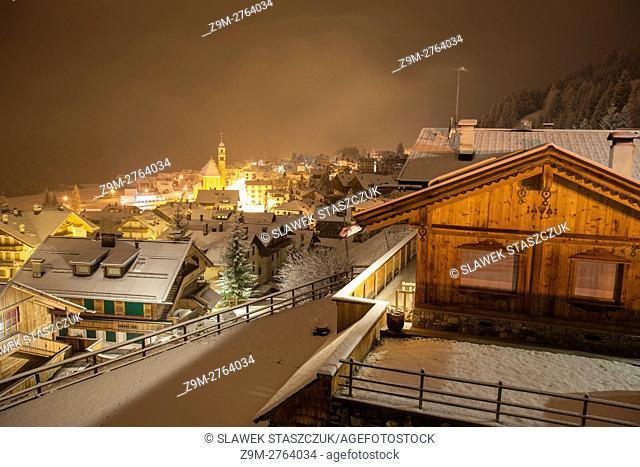 Snowy November night in Sappada, Belluno province, Veneto region, Italy. Dolomites