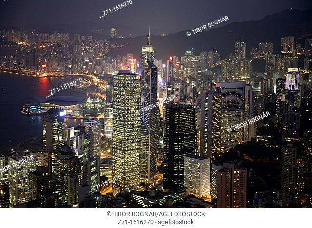 China, Hong Kong, Victoria Harbour, Central District skyline at night