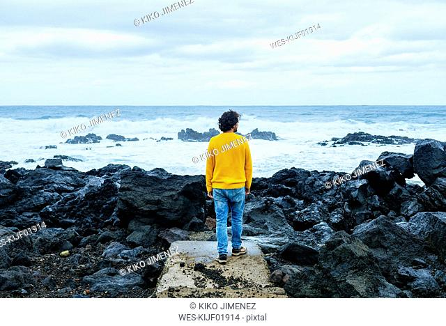 Azores, Sao Miguel, rear view of man looking at the sea from stony coast