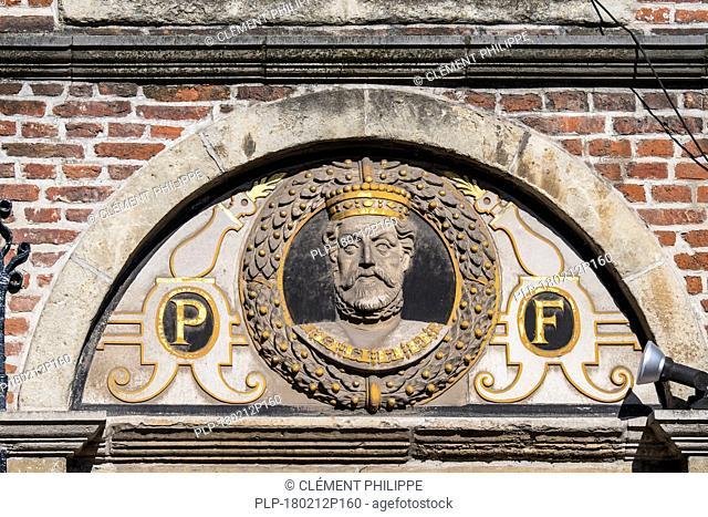 One of 14 busts of the Count of Flanders, Philip II of Spain / Philippus Filius on 16th century house front De Gekroonde Hoofden, Ghent, Belgium