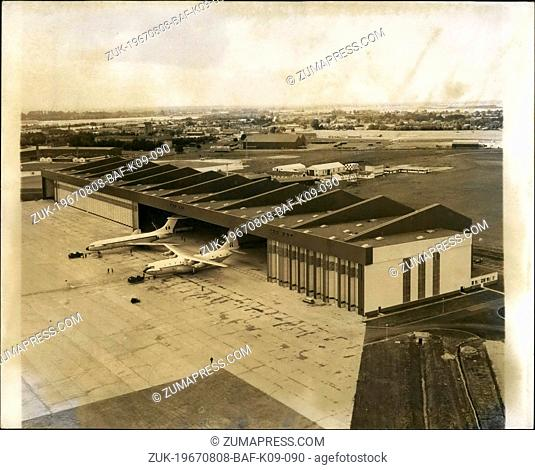 Aug. 08, 1967 - New giant Hagar for R.A.F. air support command. One of the biggest aircraft hangers in western Europe- to accommodate three v.c